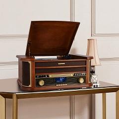 Nostalgie Musikanlage mit Plattenspieler, Retro Stereo Kompaktanlage